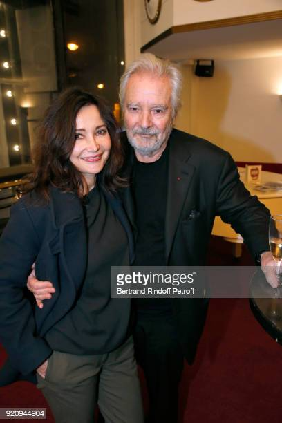 Evelyne Bouix and her husband Actor of the Piece Pierre Arditi attend the 'L'Etre ou pas' Theater Play as part of the 'Citizens' Words Paroles...