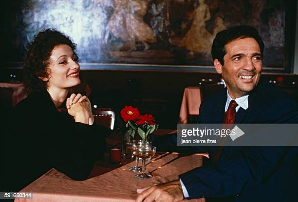 Evelyne Bouix and Marcel Cerdan Jr on the set of the 1983 French film Edith et Marcel directed by Claude Lelouch