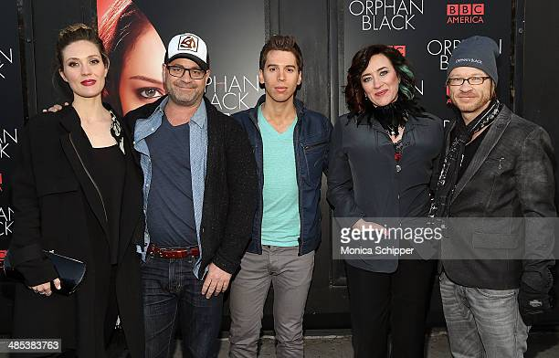 Evelyne Brochu Graeme Manson Jordan Gavaris Maria Doyle Kennedy and John Fawcett attend the Orphan Black premiere at Sunshine Cinema on April 17 2014...