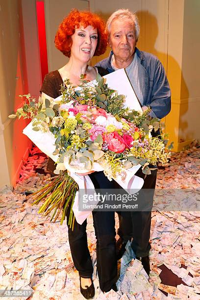 Evelyne Buyle and Pierre Arditi pose at the end of the 'Comme s'il en pleuvait' Theater Play for TV at Theatre Edouard VII on April 29 2014 in Paris...