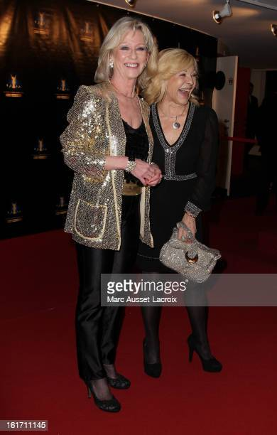 Evelyne Leclercq and Nicoletta poses during the Trophee De Paris Awards 2013 Ceremony at Espace Pierre Cardin on February 14 2013 in Paris France
