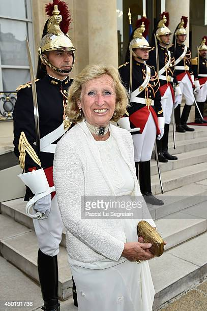 Evelyne Richard arrives at the Elysee Palace for a State dinner in honor of Queen Elizabeth II, hosted by French President Francois Hollande as part...