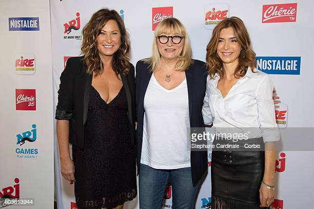Evelyne Thomas Christine Bravo and Veronique Mounier pose at the Photocall of NRJ Group at Musee du Quai Branly on September 14 2016 in Paris France