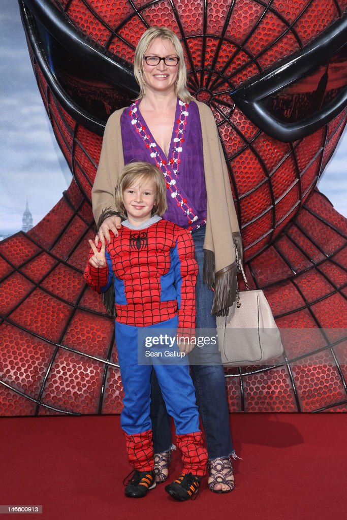 Eve-Maren Buechner and her son Jack attend the Germany premiere of 'The Amazing Spider-Man' at Sony Center on June 20, 2012 in Berlin, Germany.