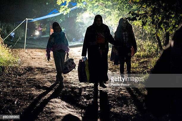 BORDER BAPSKA SYRMIA CROATIA Even at night the refugees continue to arrive at the border of SerbiaCroatia Desperate migrants continue their journey...