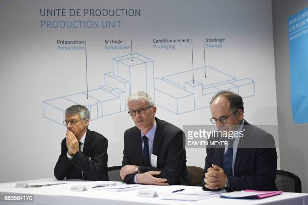 Even cooperative agrifood group and Laïta dairy company president Guy Le Bars flanked by Even cooperative agrifood group general manager Christian...