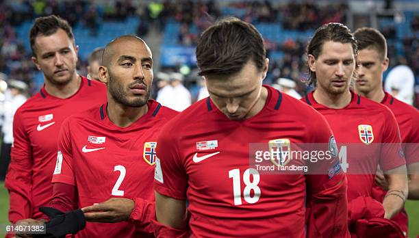 Even Hovland Haitam Aleesami Ole Kristian Selnaes Stefan Strandberg Markus Henriksen of Norway during the FIFA 2018 World Cup Qualifier between...