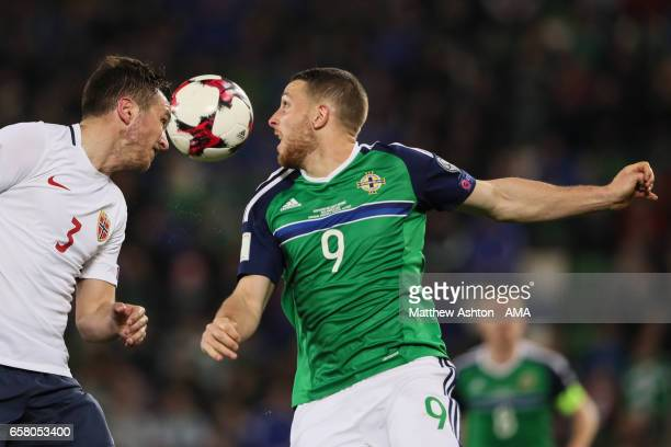 Even Hovland of Norway and Conor Washington of Northern Ireland during the FIFA 2018 World Cup Qualifier between Northern Ireland and Norway at...