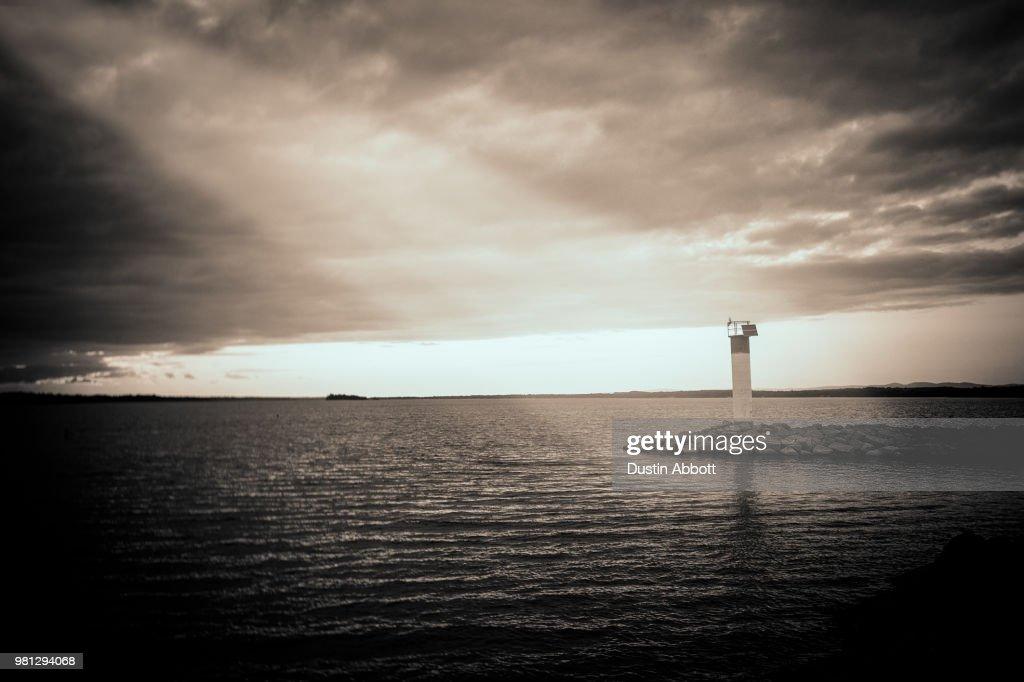 Even Lighthouses Need the Light : Foto de stock