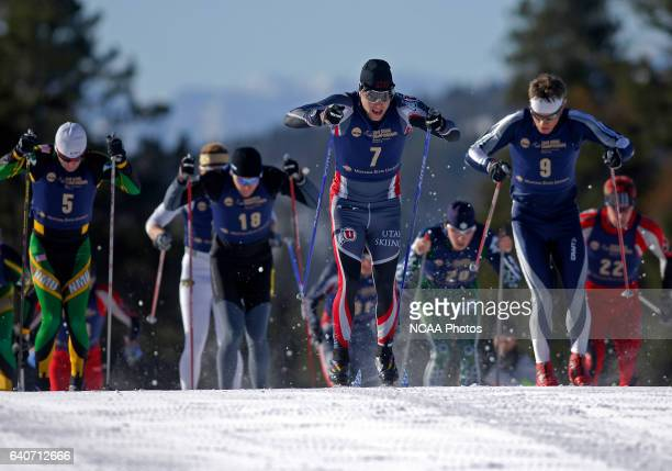 Even Sletten of Utah University pulls ahead of the pack during the mass start of the Men's 20k classic as part of the Men's and Women's Skiing...