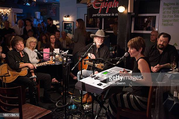 Even Stevens Hugh Prestwood and Lari White perform live during the Tin Pan South festival at the Blue Bird on April 5 2013 in Nashville Tennessee