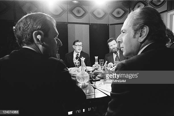 """Evenement"""" In Paris, France On October 27, 1977 - Jean d'Ormesson , Georges Suffert and Jean Daniel ."""