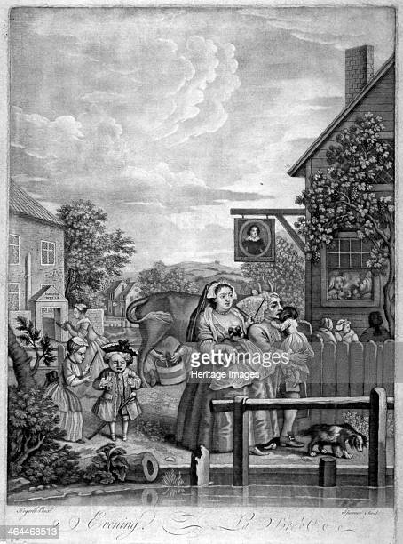 'Evening' 1738 Scene from Hogarth's Times of the day A scene at Sadler's Wells and Sir Hugh Middleton Tavern A lady with fan escorted by a man...
