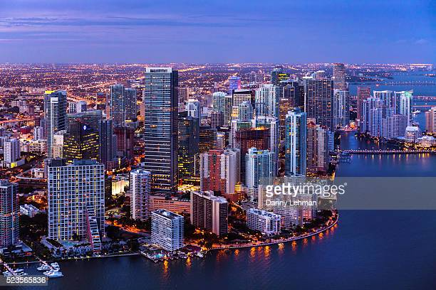 evening aerial view of miami, florida - downtown miami stock pictures, royalty-free photos & images