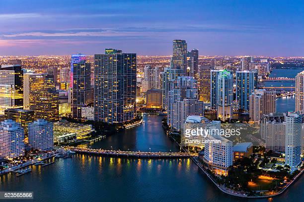 evening aerial view of miami, florida - miami imagens e fotografias de stock