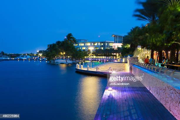 Evening along waterfront of Camana Bay on Grand Cayman