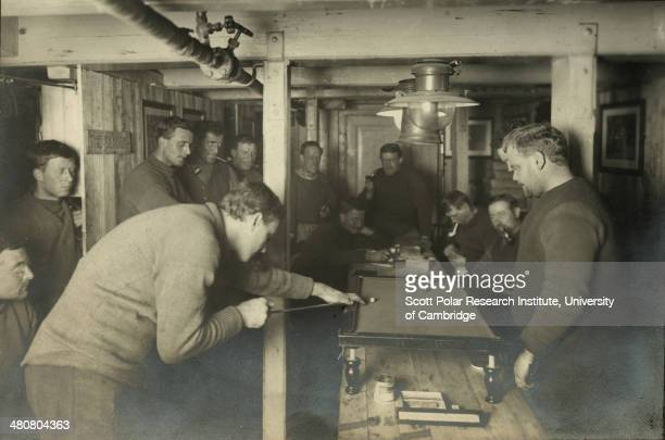 Evening amusements in the 'Ritz' on board the 'Endurance' during the Imperial TransAntarctic Expedition 191417 led by Ernest Shackleton