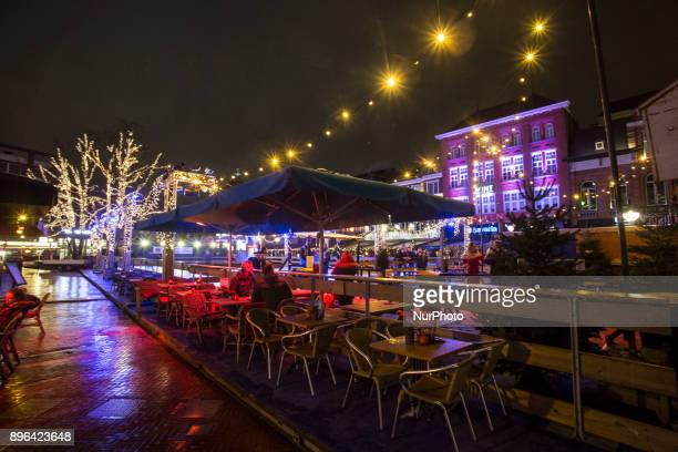 Evening and night images of Eindhoven city with Christmas light decoration all over the city center Various Christmas trees are decorated almost all...