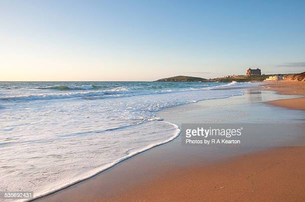 evening at fistral beach - newquay stock pictures, royalty-free photos & images