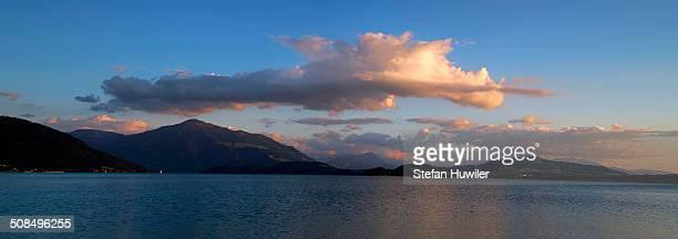 Evening at Lake Zug with the mountains Pilatus and Rigi at back, Zug, Switzerland, Europe