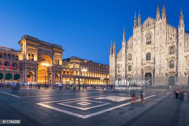 evening at piazza del duomo, milan - milan stock pictures, royalty-free photos & images