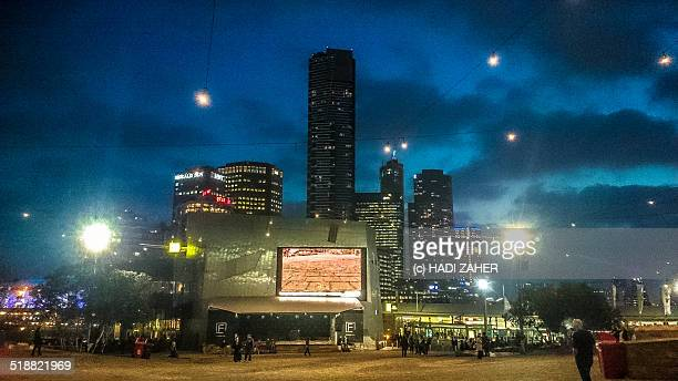 evening at the federation square | melbourne - federation square stock pictures, royalty-free photos & images