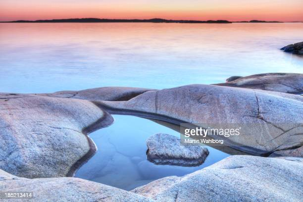 evening at the swedish coastline - coastline stock pictures, royalty-free photos & images