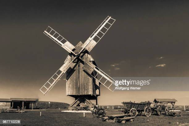 evening at the windmill - old windmill stock photos and pictures