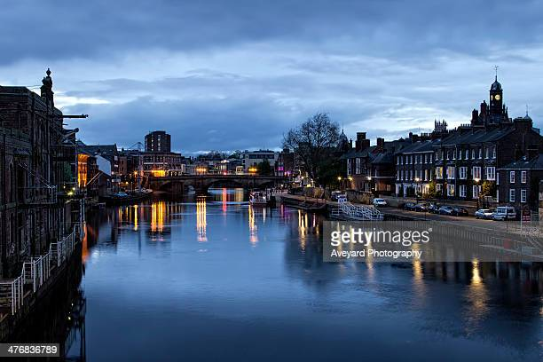 evening by the river - york yorkshire stock photos and pictures
