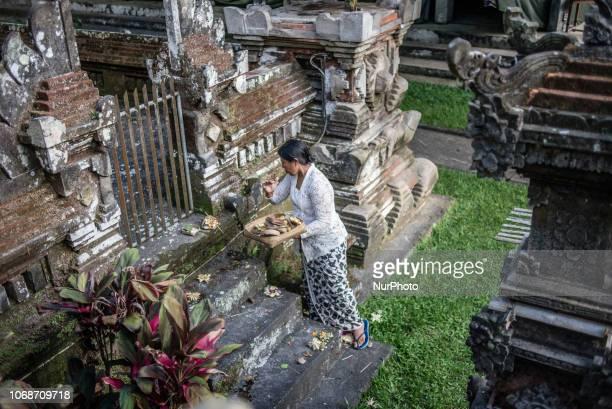 Evening ceremony at Pura Gunung Kawi Sebatu Temple Bali Indonesia on November 22 2018