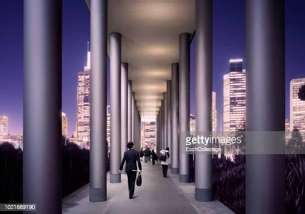 Evening commute at modern illuminated city
