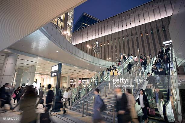 Evening commute at Osaka Station, Japan