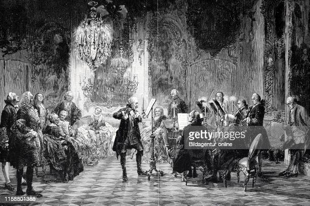 Evening concert by Friedrich the Great Frederick II king of Prussia in Sanssouci Potsdam digital improved reproduction of an original from the year...