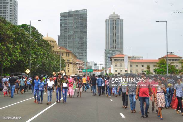 evening crowds on galle face green with galle road in colombo - imagebook stock pictures, royalty-free photos & images