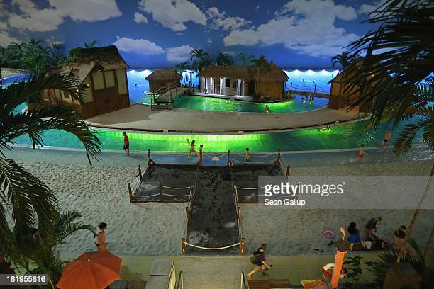 Evening descends on the beach of the 'South Sea' at the Tropical Islands indoor resort on February 15 2013 in Krausnick Germany Located on the site...