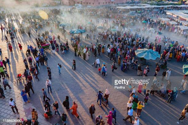 evening djemaa el fna square with koutoubia mosque, marrakech, morocco,north africa - north africa stock pictures, royalty-free photos & images