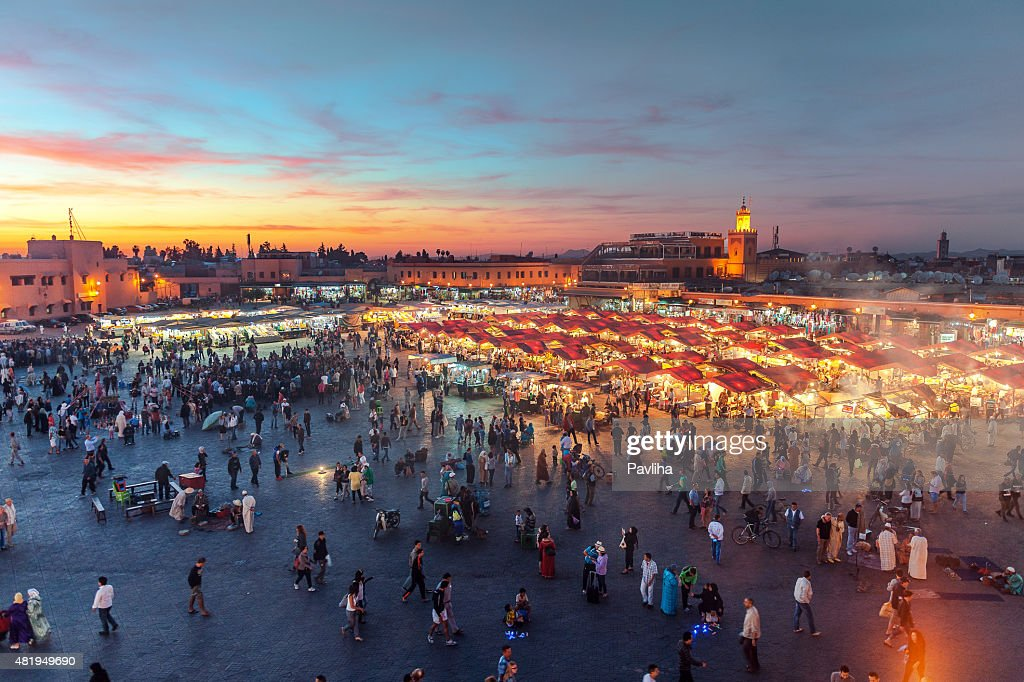 Evening Djemaa El Fna Square with Koutoubia Mosque, Marrakech, Morocco : Stock Photo