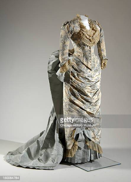 Evening dress 1883 Printed silk moire faille lace by Charles Frederick Worth