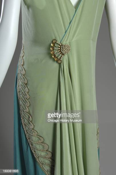 Evening dress ca 1928 Silk charmeuse pearl metallic thread and brooch by Callot Soeurs worn by Mrs Potter Palmer II nee Pauline Kohlsaat