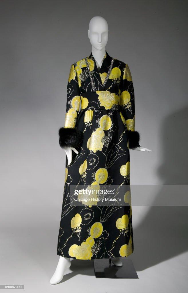 Evening dress, ca 1970 (front view). Silk brocade, rhinestone, fox by Oscar De La Renta.