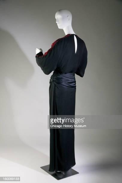 Evening dress, ca 1973 . Silk crepe and satin, sequin, glass bead by James Galanos; worn by ballerina Maria Tallchief .