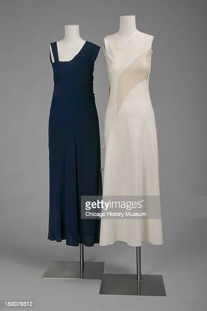 Evening dress with reproduction showing contruction method Silk boucle crepe by Charles James worn by Mrs Walter S Carr nee Mary Conway Adams An...