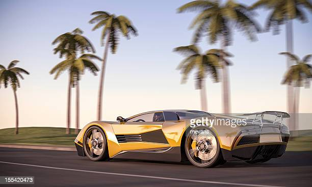 evening drive - prestige car stock pictures, royalty-free photos & images