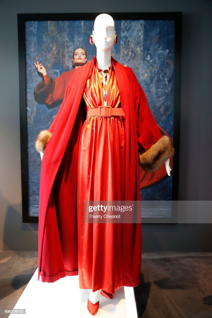 Evening ensemble formed by a satin dress and a cashmere trimmed in sable is displayed during the exhibition 'Hubert de Givenchy' at 'Cite de la Dentelle et de la Mode' on June 15, 2017 in Calais, France. This exhibition takes part from June 15 to December 31, 2017.