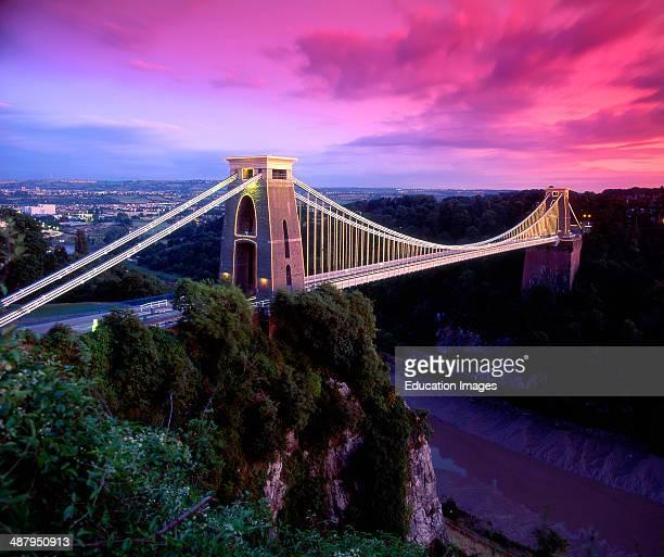 Evening Floodlit View Of The Bristol Suspension Bridge Across The Avon Gorge Clifton North Somerset England
