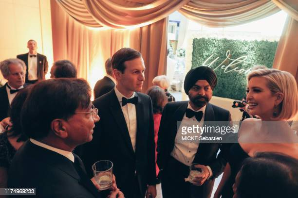 Evening gala for Christine Lagarde's departure from the IMF Ivanka Trump her husband Jared Kushner Lakshmi Mittal and Ajay Banga are photographed for...