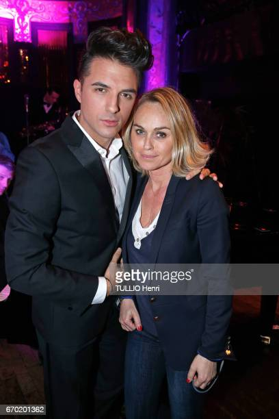 Evening gala for the new perfume Pour un Homme by Caron at the Theatre du Renard in Paris on March 22 2017 Ludovic Baron and Cecile de Menibus