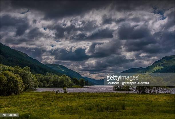 Evening glow of dusk, Central highlands of Scotland.