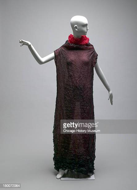 Evening gown ca 1990 Wrinkled polyester by Issey Miyake