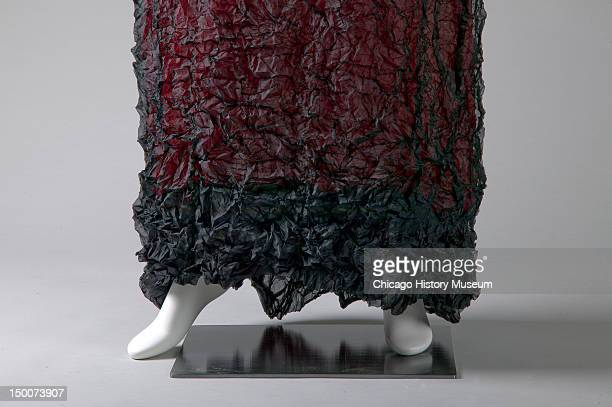 Evening gown, ca 1990 . Wrinkled polyester by Issey Miyake.